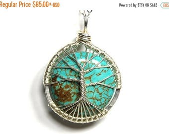 20% OFF Vacation SALE The Round Turquoise Tree of Life Necklace in Sterling Silver.