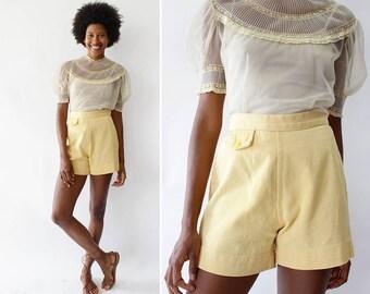 Vintage High Waisted Shorts S • Pastel Shorts • 60s Shorts • Vintage Shorts • Yellow Shorts • Cotton Shorts Women • Short Shorts  | SK844