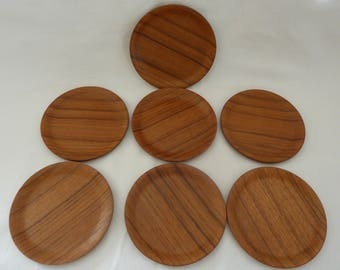 Vintage Set of 7 Wooden Coasters  with Beautiful Wood Grain - Small Size