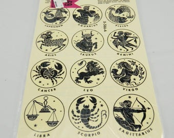 Vintage Meyercord Zodiac Decals, Water Slips, 1970s, Astrology,  Black