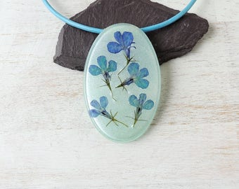 Large Blue Flower Pendant on Leather Necklace, Real Flower Resin Pendant, Statement Necklace, Resin Jewellery, Flower Jewellery, UK. 868