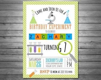 ON SALE Science Birthday Invitations, Science Birthday Party, Science Invitation, Science Party, Mad Science Party, Printable Invitation, Ex