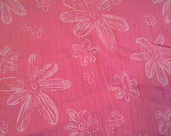 Lightweight Pink Floral Cotton Fabric, Wrinkled Look 1 7/8 Yards X0972