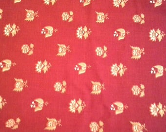 Floral Print on Red Background Cotton Fabric 3Yards X1164