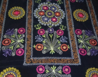 Uzbek vintage silk embroidery on velvet suzani. Bed cover, wall hanging, home decor suzani. SW003