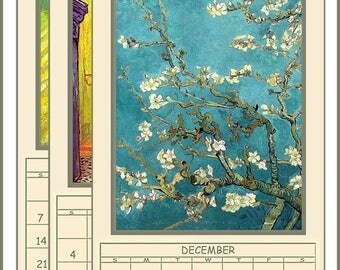 "NEW 2018 Digital Calendar Download and Print 5"" X 10"" Pages Van Gogh Paintings 12 Different Images 2018 CAL 3"