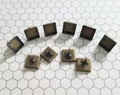 Set of 5 PAIRS (10 in total) 12mm 1/2 inch Square Bronze Earring Stud Bezels Trays Blanks posts with Earring Backs included