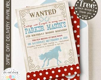 Vintage Cowboy Horse Invitation, Cowboy Horse Birthday Invitation, Horse Birthday Party, Printable Cowboy Party Invitation, BeeAndDaisy