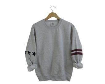 New Star & Stripe Sleeve America USA Ash Gray Crewneck Sweatshirt // Size S-3XL