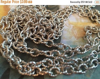 SALE NEW High Quality twisted link BRUSHED antique silver plated 7mm x 6mm chain 1 foot