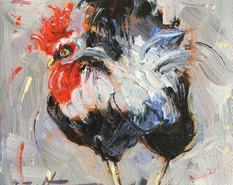 """Rooster Painting Portrait, Rooster Art, Original Oil Painting, Chicken Painting, by Ingrid Bolton, Small Mini Painting, 5""""x5"""", Animal Art"""