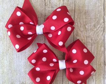 Red with White Dots Boutique Bow Set