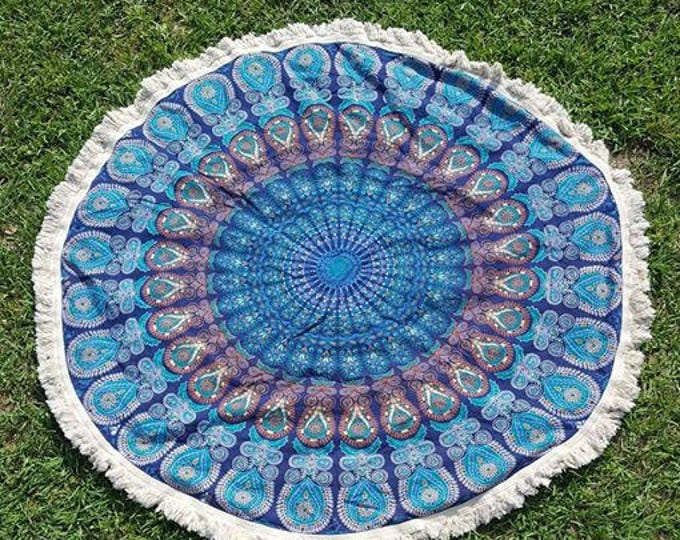 Ocean Blue Peacock Mandala Roundie with White Fringe Mandala Tapestry Beach Blanket Yoga Mat Meditation Mat Dorm Decor Hippie Tapestry