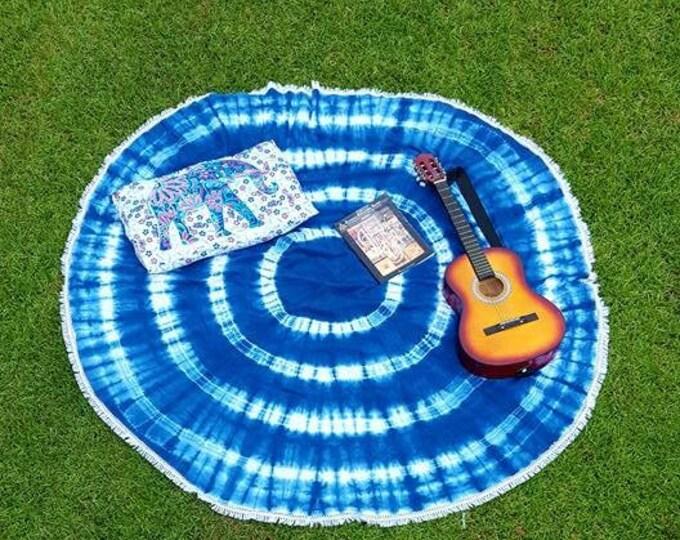 Shibori Blue and White Striped Mandala Roundie with White Fringe Tapestry Beach Blanket Yoga Mat Meditation Mat Dorm Decor Hippie Tapestry