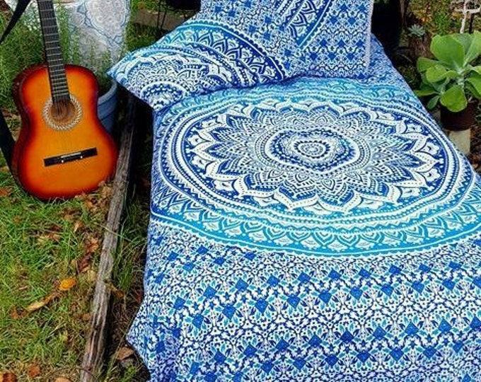 Blue Turquoise and White Mandala Bedding Duvet Cover Set or Flat Sheet Set Boho Bedding Beach Gypsy Bedding Dorm Decor