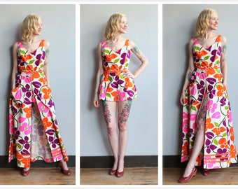 1960s Swimsuit & Skirt Set // Cole of California Tropical 2pc Set Swimsuit + Skirt // vintage 60s swimwear