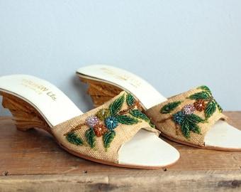 1950s Slide Wedges // Mandarin Tourist Wedge Sandals // vintage 50s carved wedge sandals
