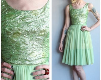 25% Off Sale // 1960s Dress // Chiffon & Brocade Party Dress // vintage 60s dress