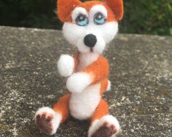 Ooak needle felted red husky dog