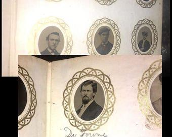 1860s Miniature Album 77 Tintype Photo Civil War Soldier - Widow - Doctor & ID's