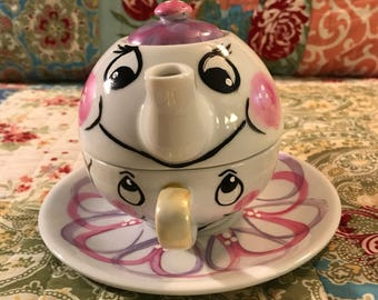 Tea for One Teapot Set Beauty and the Beast inspired pink and purple