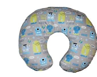 boppy cover, minky boppy cover, boy boppy cover, Ships Today-nursing pillow cover, monster all minky boppy cover