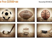 WEEKEND SALE Vintage Sport Prints, Color Balls on Vintage Brown Background Set of 6 Stretched Canvases Ready to Hang  , Sports Decor, Boys R