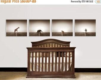 WEEKEND SALE Nursery Decor, Baby animal art, Baby room ideas, Safari animals, Set of Four Prints