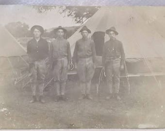Vintage or Antique Real Photo Postcard-4 Armed Men-Army Soldiers / Cowboys / Texas Rangers -FREE SHIPPPING!