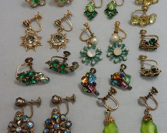 10 pr Vintage Screw On Back Earrings Lot