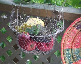 Collapsible Wire Basket. Can Also Stand on The Handles. Egg Basket, Planter, Fruit, Shells, Thread Holder. Rustic Natural, French Decor.