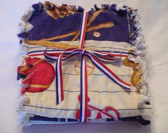 Baby Boy Rag Quilt Burp Cloths Burp Towels Set of 3 All Star Baseball Sports Red White Blue Cotton Chenille