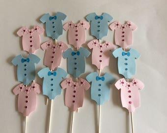 12 Onesie  Baby Shower onesie Cupcake Toppers Baby gender reveal