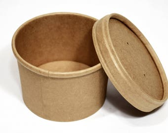 Kraft Soup Cups with Lids (10) * 8 oz * party supplies* paper goods * packaging * picnics * disposables