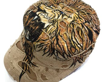 Lion tattoo Inspired Handpainted Vintage Cadet Hat with Adjustable band