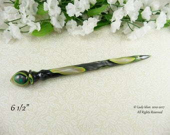 Hair Stick Longer Length Stormy Spring Acrylic