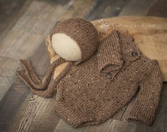 Long Sleeve Romper and Bonnet Set - READY TO SHIP - photo prop neutral tweed newborn