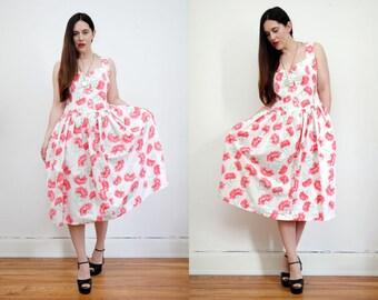 Vintage Floral Cotton Sun Strap Garden Tea Dress Grunge Revival 80s Dress