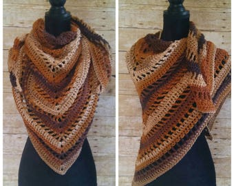 Ombre Shawl, Brown Wrap, Ombre Scarf, Scarf Shawl, Triangle Scarf, Brown Ombre Wrap, Striped Blanket Scarf, Boho Bandana Scarf