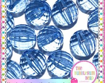 20mm ROYAL BLUE TRANSPARENT Disco Bead, Bubblegum Chunky Bead, Gumball Bead, Acrylic Bead, Round Bead, Diy Supply, The Bubblegum Bead Co.