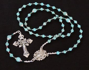 Miraculous medal Catholic Rosary - Beautiful silver crucifix, Turquoise Magnesite and Czech crystal beads. Free Rosary Pouch.