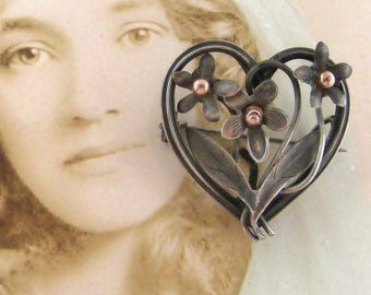 Antique art nouveau French silver flower heart fob brooch with rose gold