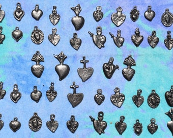Heart Milagros 50 Milagro Charms Assorted Antiqued Silver Tone Hearts Wholesale