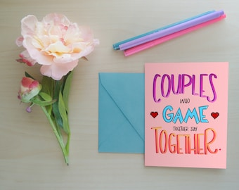 Greeting Card, Gaming Card, Gaming Couples, Card for Her, Card for Him, Video Games, Gamer Girl, Gamer Couple, Funny Greeting Card: Gamers
