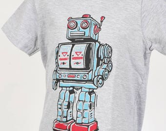 Robot On Heather Grey Youth T Shirt Sm Med Lg