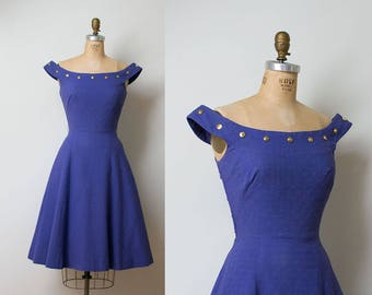 1950s Sundress / 50s Purple Cotton Pique Studded Dress