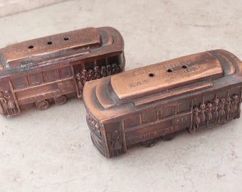 Cable Car Salt & Pepper Shakers San Francisco Souvenir Copper Vintage 111816AL