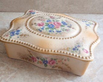 Porcelain Lidded Box Hand Painted Rectangular Lecot Zapun USA Vintage 012215BT