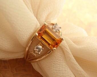 Tangerine Sapphire Ring Yellow Orange 14k Gold Natural Emerald Cut Artisan Hand Made