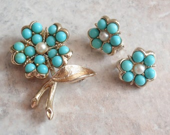 Aqua-Fleur Earrings Brooch Sarah Coventry Turquoise Floral Gold Tone Vintage 062615UP